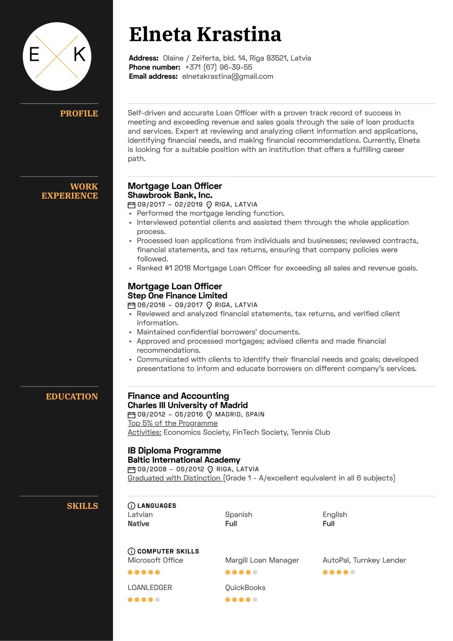 mortgage loan originator sample resume