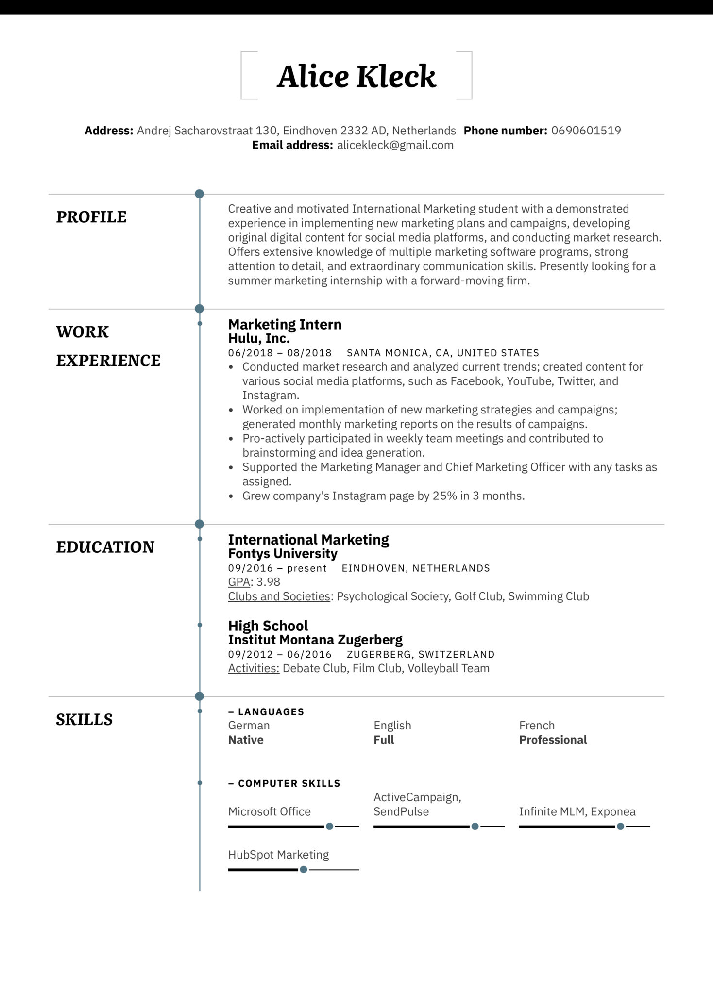 public relations intern resume examples