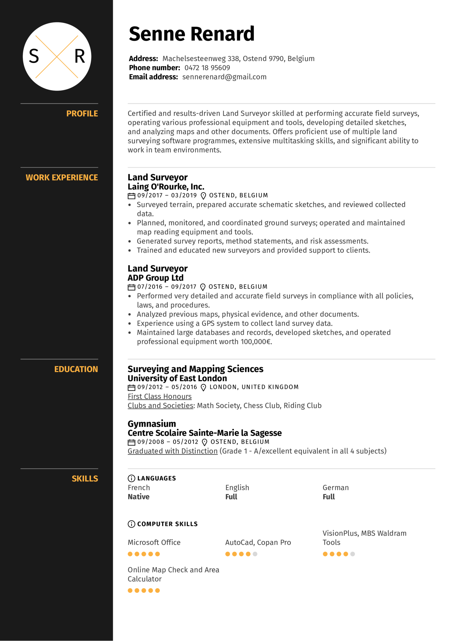 personal profile sample for resume