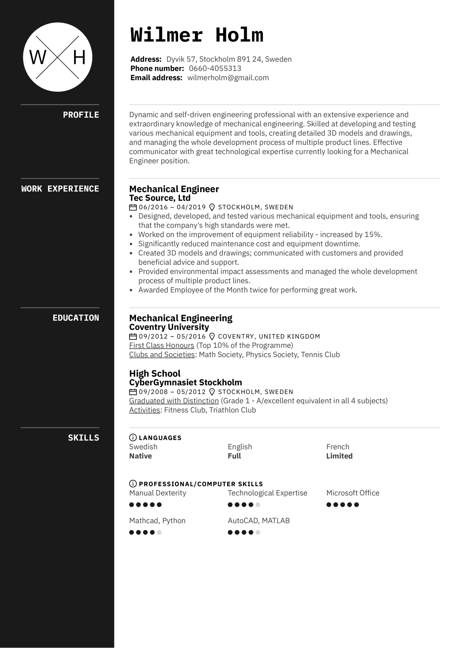 Charted Electrical Engineer Cover Letter Resume Examples By Real People Mechanical Engineer Resume Sample