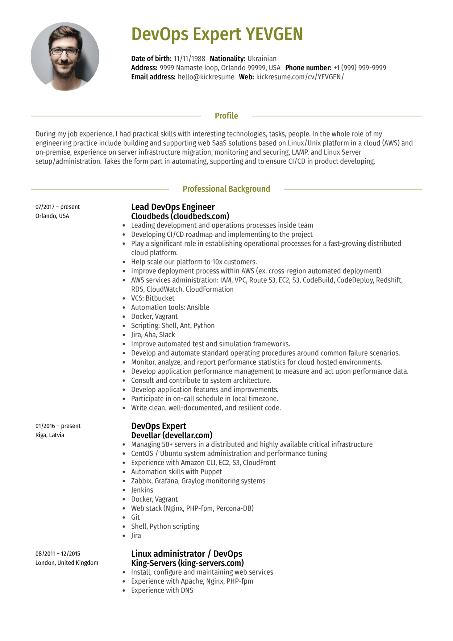 Resume Examples By Real People Lead DevOps Engineer