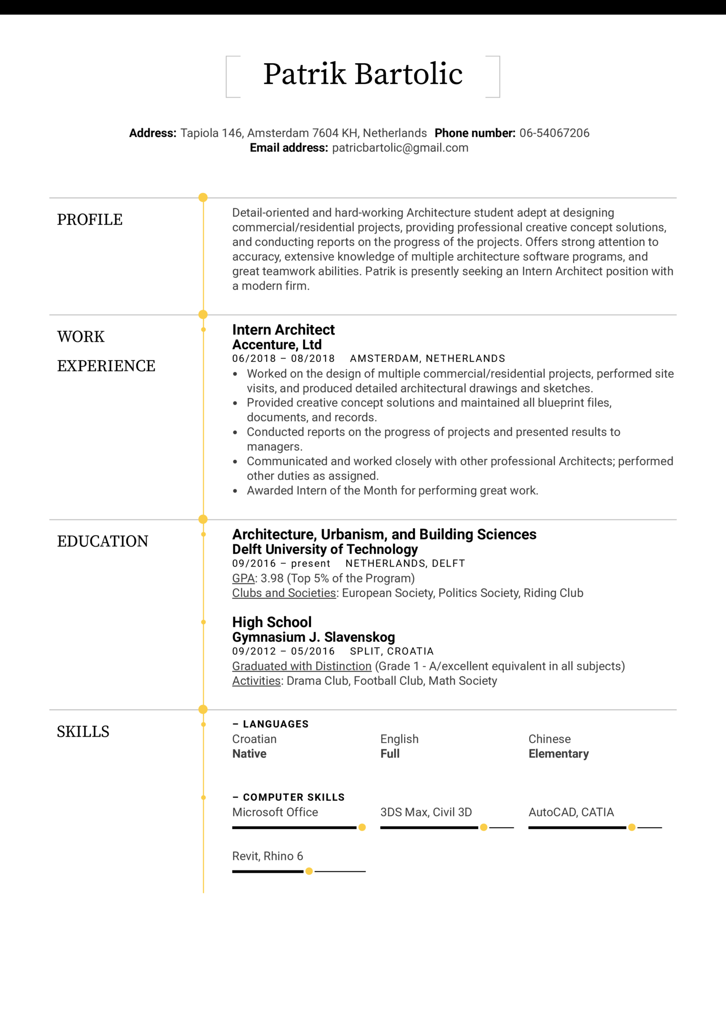 architecture intern resumes