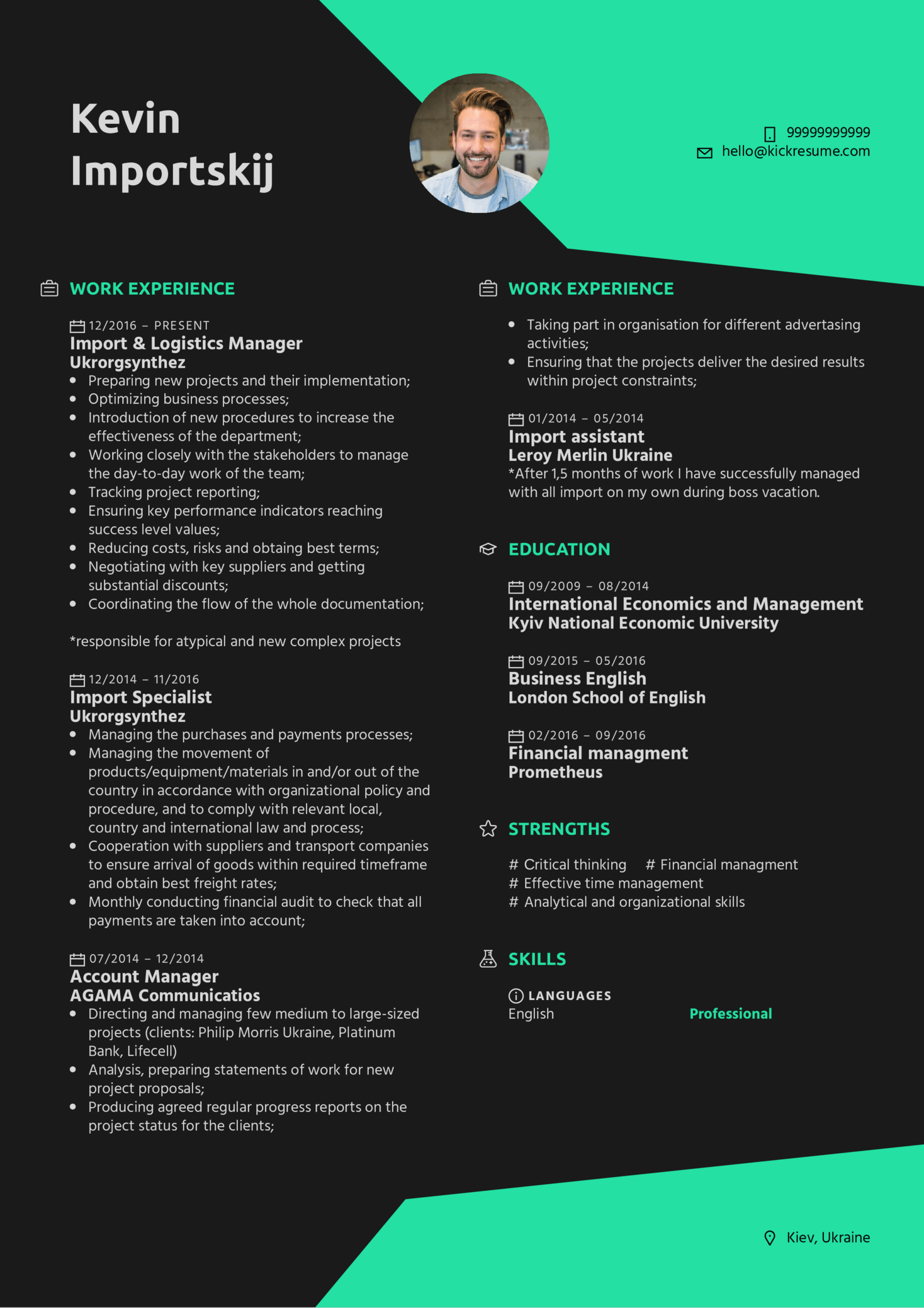 Resume Examples By Real People Import & Logistics Manager
