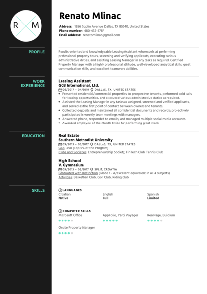 Real Estate Resume Samples from Real Professionals Who got Hired  Kickresume