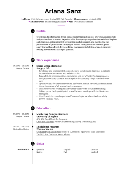 resume examples by real people social media analyst