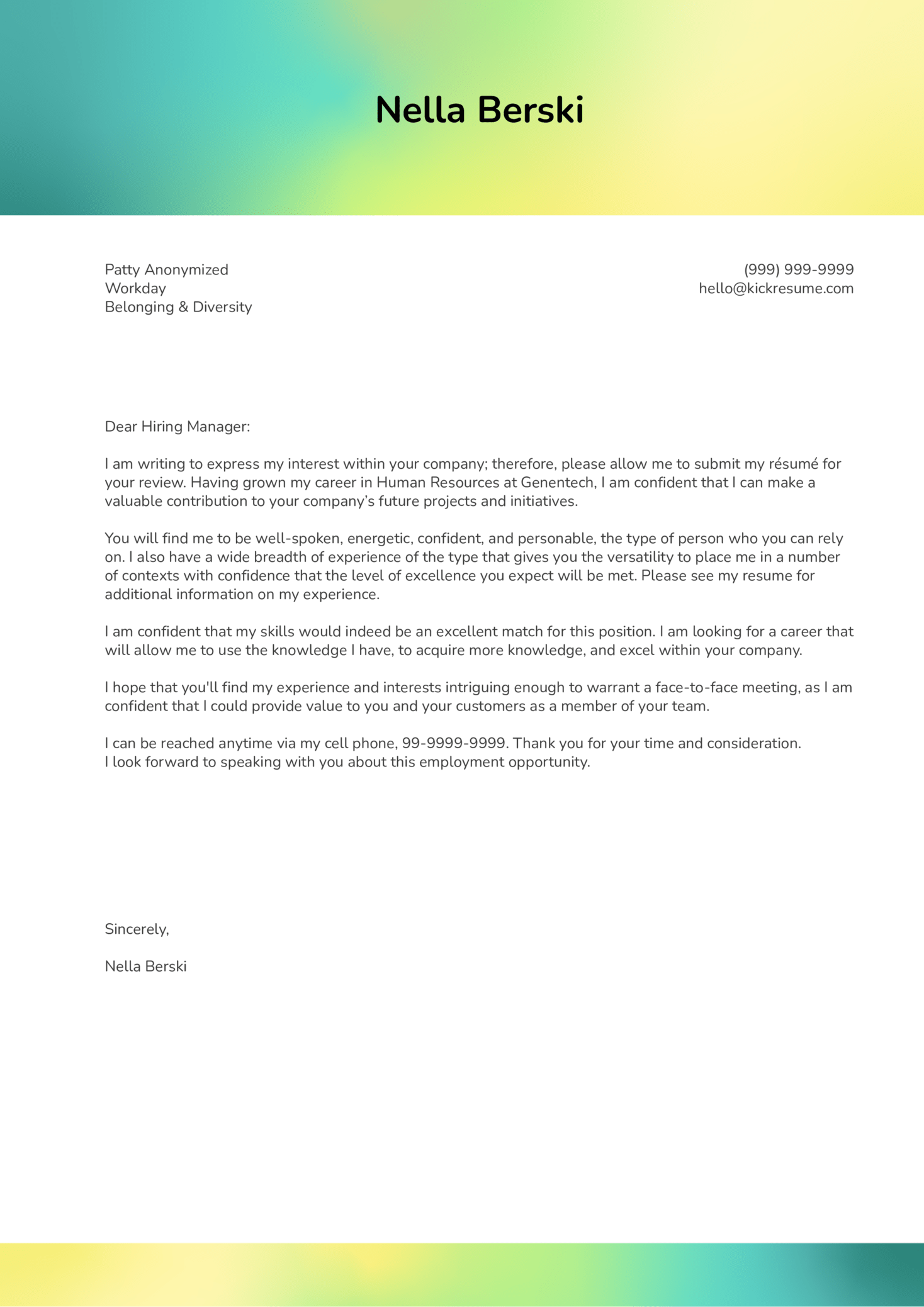 Cover Letter Examples By Real People Diversity Manager