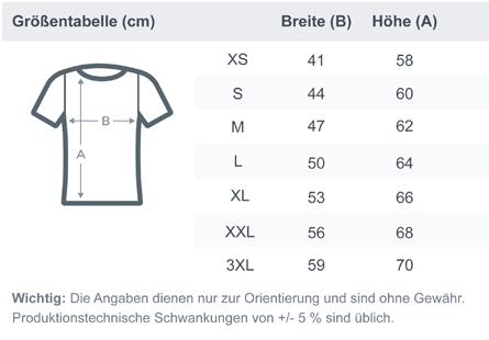 size chart ladies premium shirt Trinity - Ladies Premium Shirt