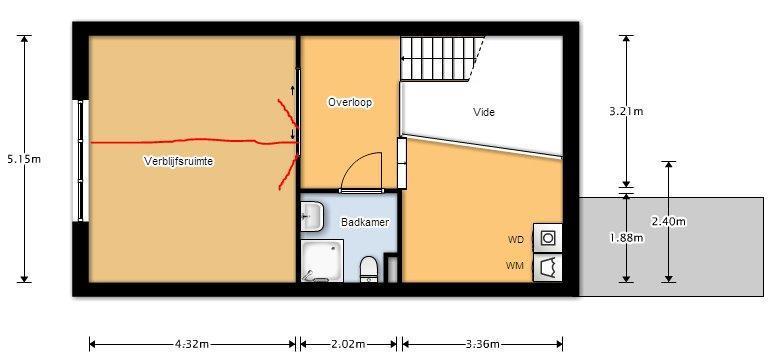 Splitsen van 1 kamer 515 x 43 naar 2 kamers deuren