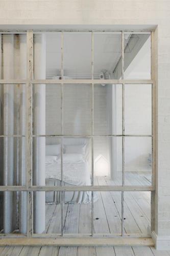 Scheidingswand van staalhout en glas  Werkspot