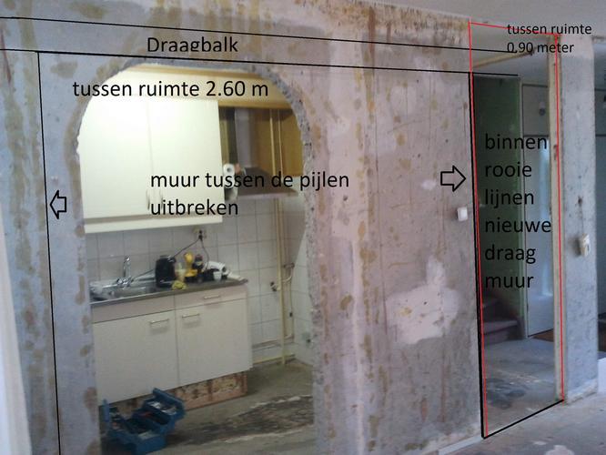 draag muur uitbreken en plaatsen constructie balk  Werkspot