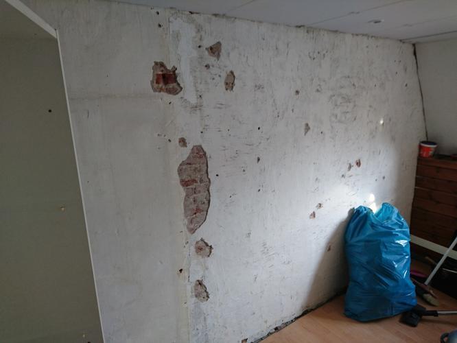 Oude en slechte muur stucen 7m2  Werkspot
