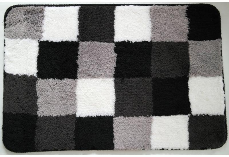 Badmat 60 x 90 cm zwart wit grijs geblokt  Coppens