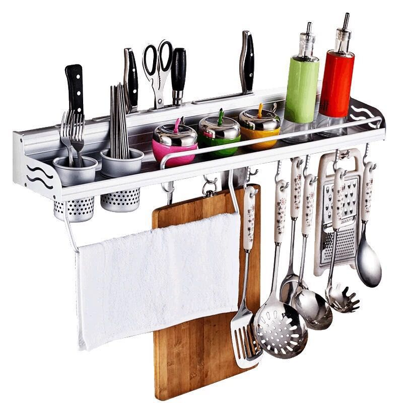 Wall Mount Kitchen Rack Tool Organizer Knife Holder Utensil Storage Chef Shelf Ebay
