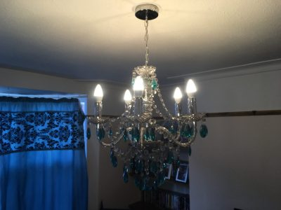 Wilko teal-accented Marie Therese 5 Arm Chandelier Light