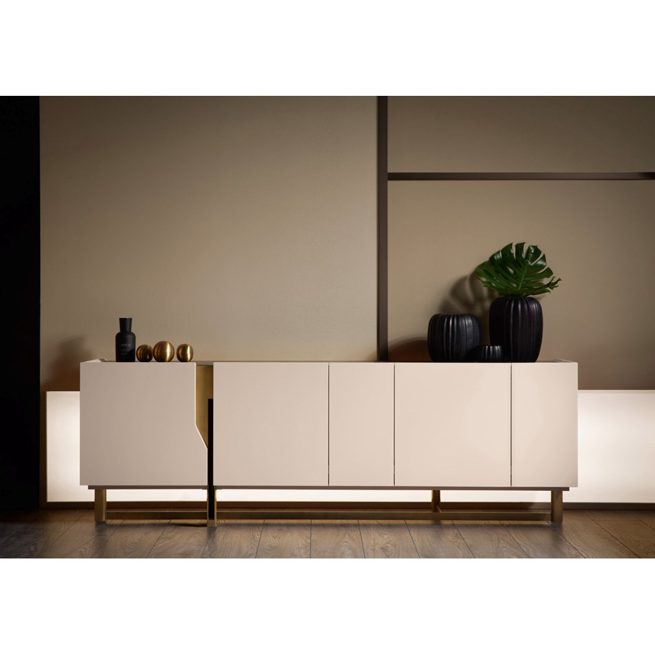 Sideboard Modern Luna Modern Italian Sideboard With Cosmic Black Marble Top | Touched Interiors