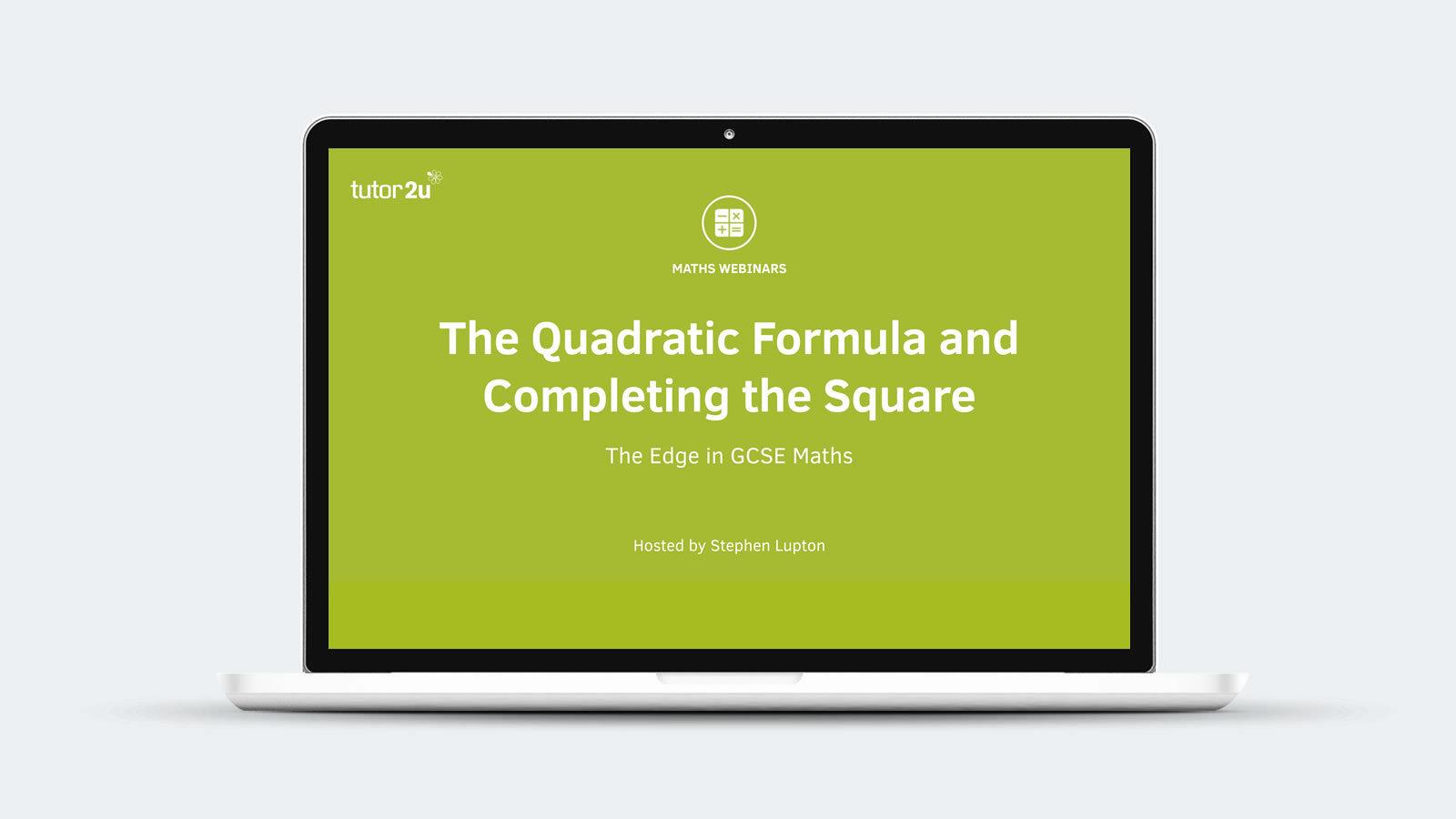 The Quadratic Formula Revision Quiz