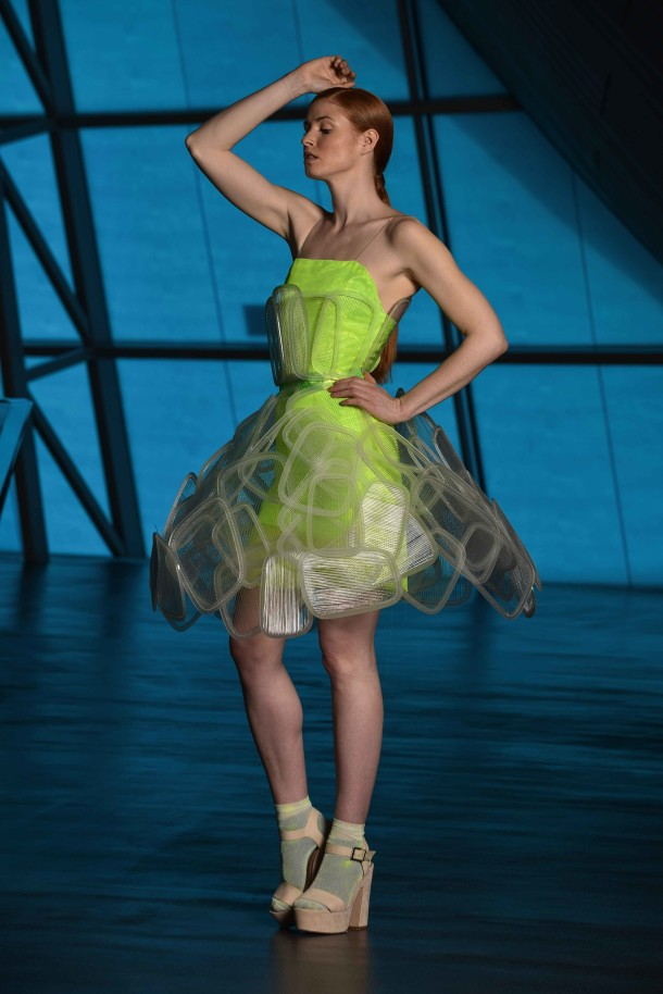 Ece Dogan's design using neon and woven plastic details