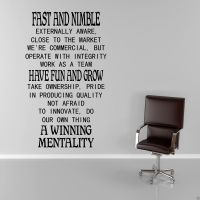 FAST AND NIMBLE Work Office Wall Art Sticker Quote Decal