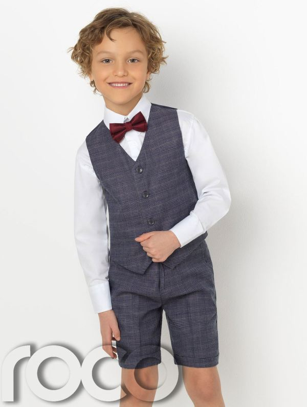 Boys Waistcoat Suit Check Suits Short Page Boy