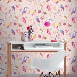 wall birds unicorn bedroom feature wallpapers pink designs glitter themed decor heart stars accessories rolls rasch yellow natural chic various
