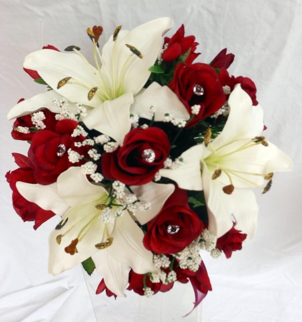 Brautjungfern Hochzeitsstrau Lillies  Roses Lila Knigsblau Tief Rot  eBay