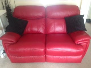 modena 2 seater reclining leather sofa mattress pad pair of red electric sofas in ryde expired wightbay