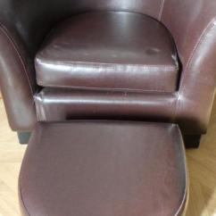 Brown Leather Tub Chair With Footstool Cheap Covers For Sale Childs Faux Foot Stool In Shanklin Sold Wightbay