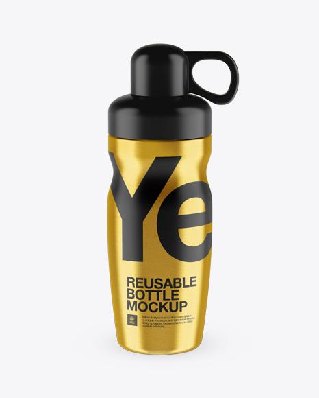 Metallic Reusable Water Bottle Mockup Packaging Mockups