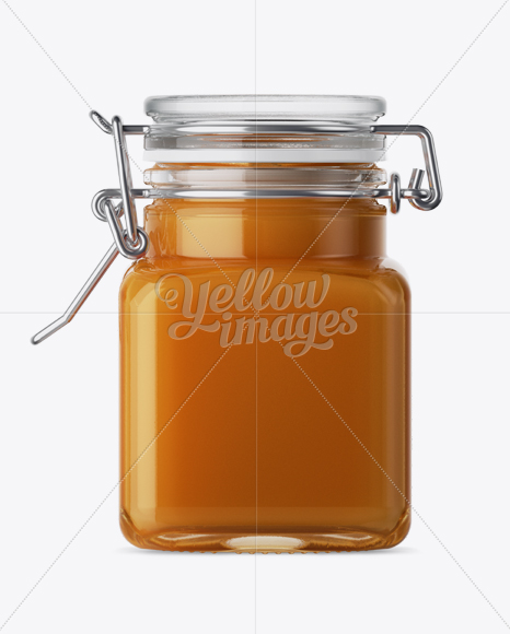 Download Clear Honey Jar With Clamp Lid Psd Mockup Yellow Images