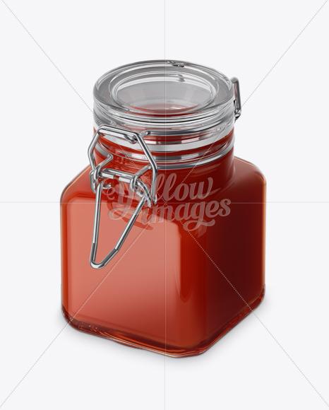 Download Clear Glass Orange Jam Jar Psd Mockup Yellowimages