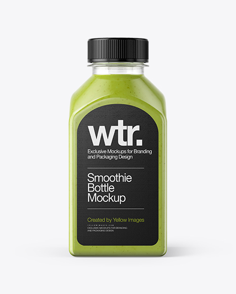 Square Green Smoothie Bottle Packaging Mockups