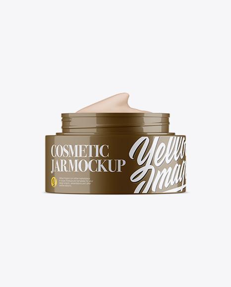 59a57abb80334 Opened Glossy Cosmetic Jar Mockup templates