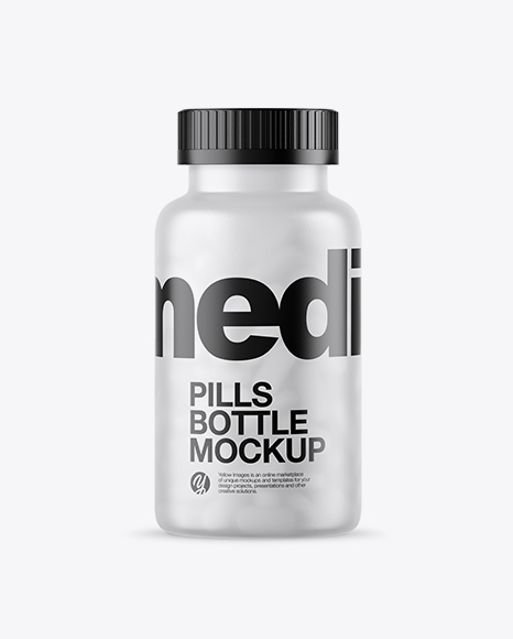59a57c42ef9a2 Frosted Bottle With White Pills Mockup templates
