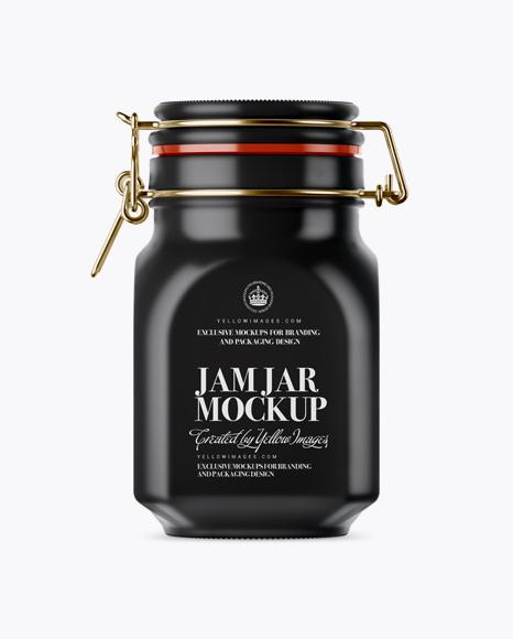 59a693a741f35 900ml Matte Ceramic Jam Jar w/ Clamp Lid Mockup templates