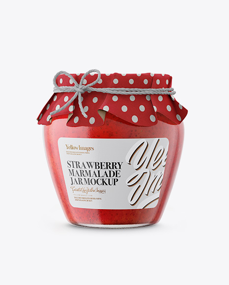 Glass Strawberry Marmalade Jar with Paper Cap Packaging Mockups