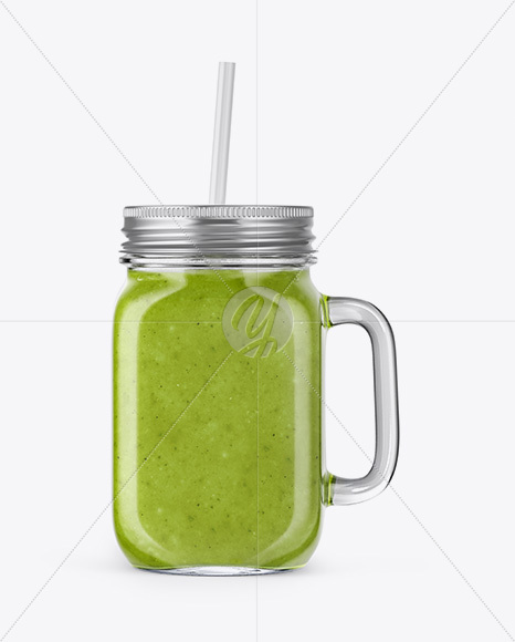 Download Green Glass Bottle With Smoothie Psd Mockup Yellowimages