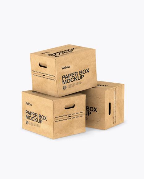 Download Three Kraft Paper Boxes Mockup in Box Mockups on Yellow ...