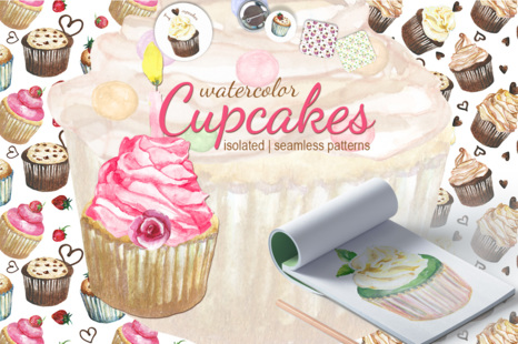 Cupcakes Watercolor Set In Illustrations On Yellow Images Creative Store