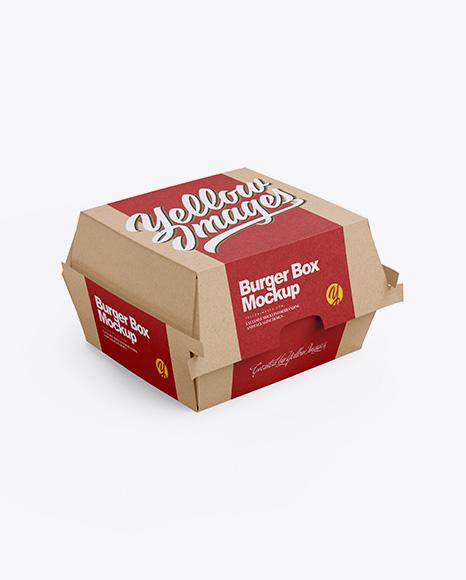 Download Kraft Burger Box Mockup - Half Side View (High-Angle Shot ...