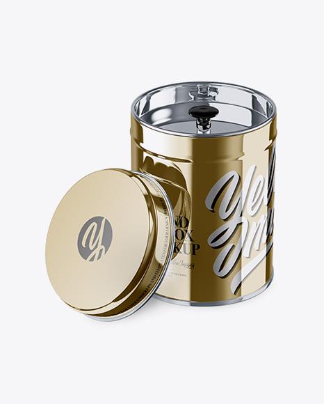 5a6891f4a515f Opened Metallic Tin Box Mockup - High-Angle Shot templates