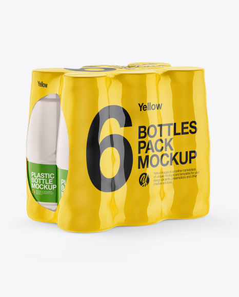 5ac78f99be43f Shrink Pack with 6 Plastic Bottles Mockup - Half Side View templates