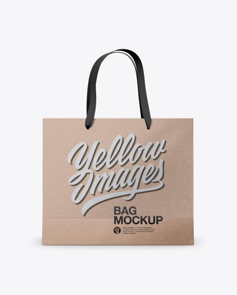 Kraft Bag with Raised Up Handles Mockup - Front & Top Views