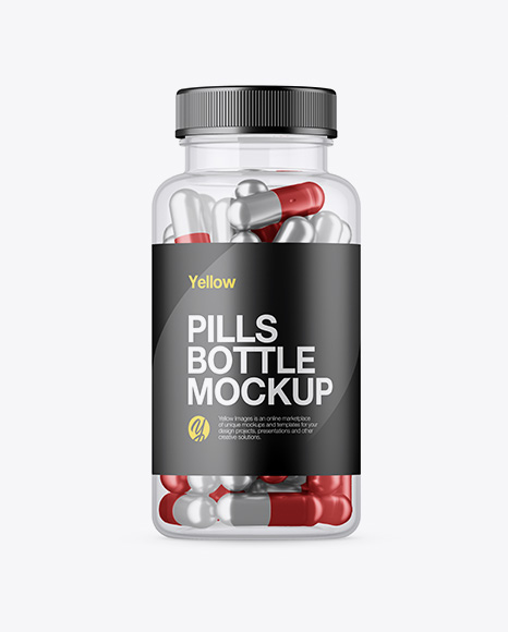 Clear Plastic Bottle With Metallic Pills Mockup