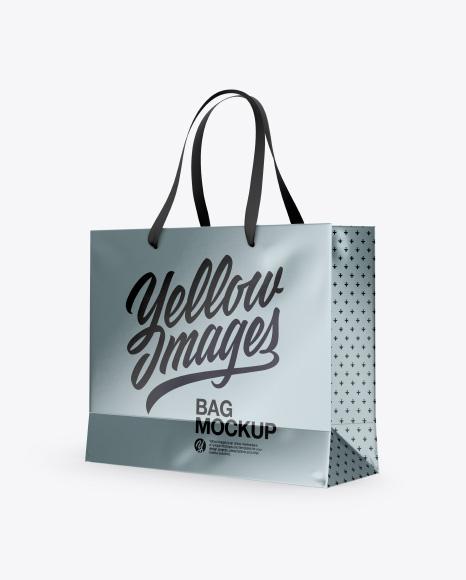 Metallic Bag with Raised Up Handles Mockup - Half Side View
