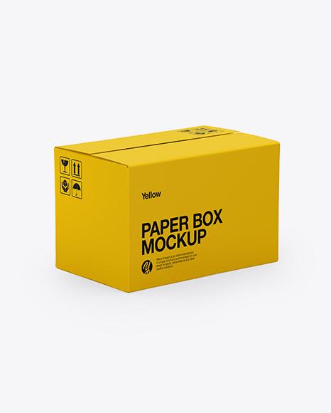 Paper Box Mockup - Half Side View (High-Angle Shot)