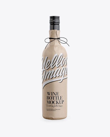 Wine Bottle in Kraft Paper Wrap