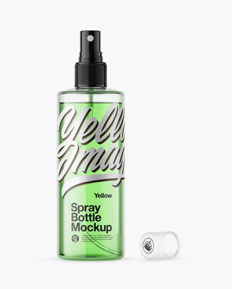 Opened Clear Spray Bottle with Green Liquid Mockup
