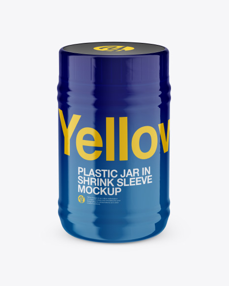Plastic Jar in Shrink Sleeve Mockup - Front View (High-Angle Shot)