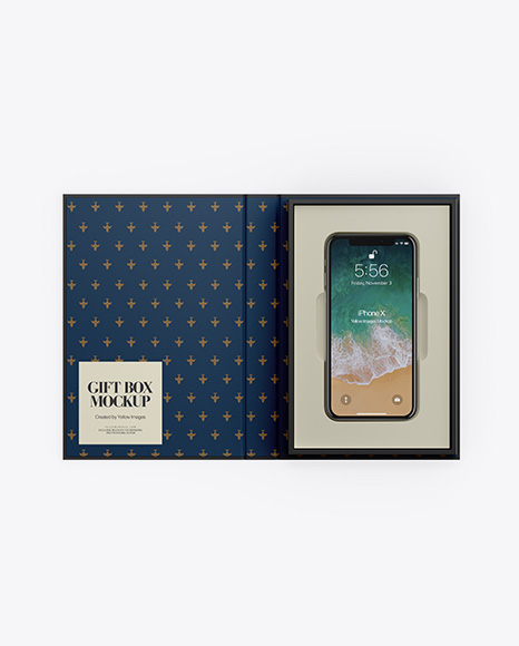 Matte Gift Box With Apple iPhone X Mockup - Top View