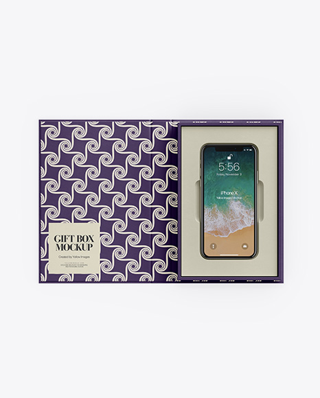 Textured Gift Box With Apple iPhone X Mockup - Top View